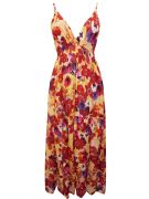PISTACHIO RED PANSY FLORAL PRINT SUMMER MAXI DRESS BNWT SIZES 8-18